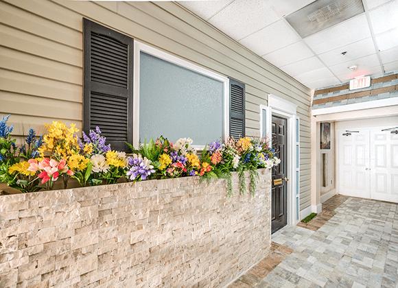 Flowers by the door