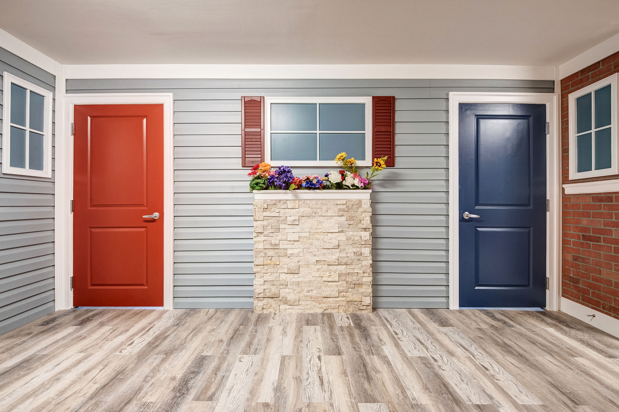 Brown and blue doors