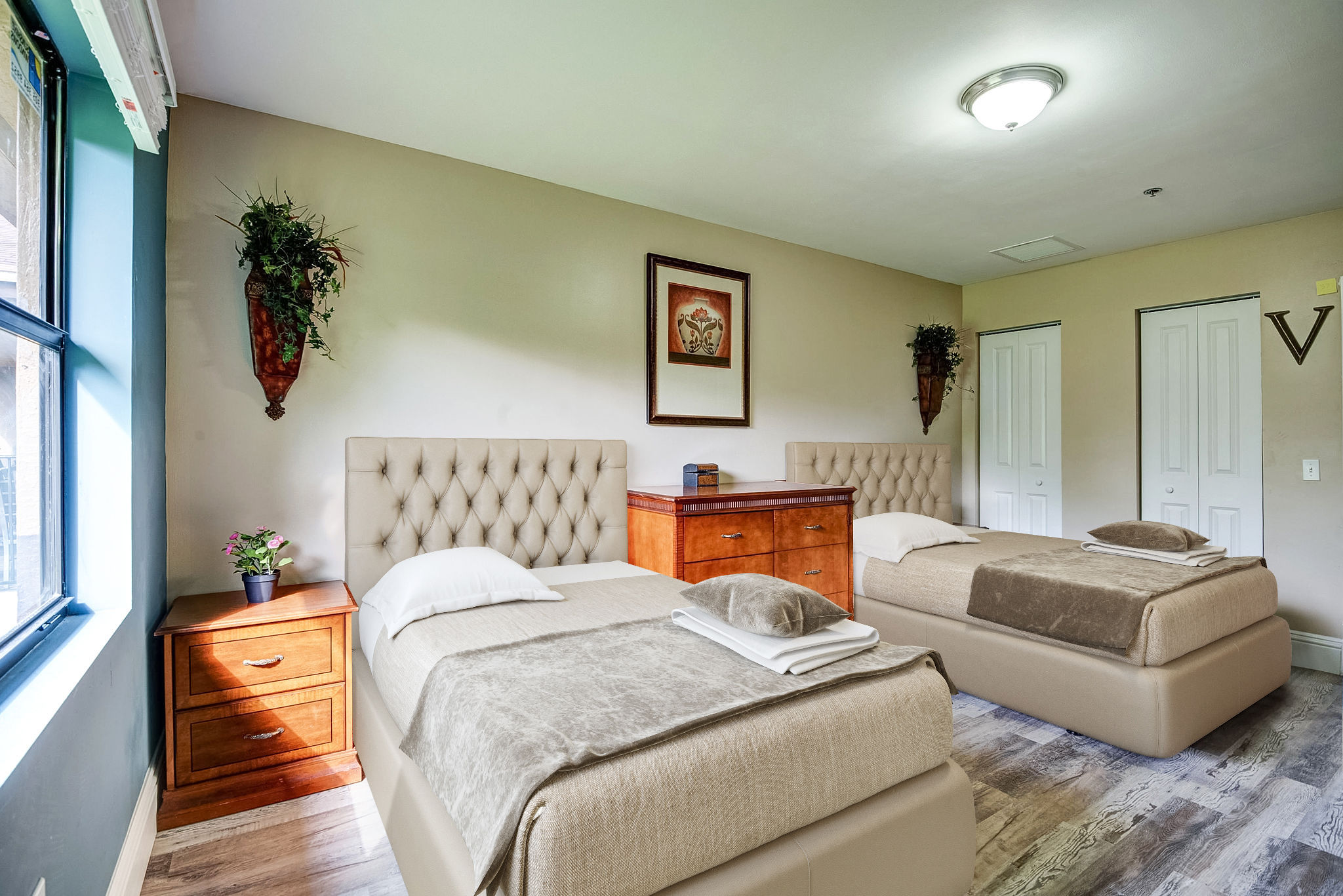 Bright comfortable room with beds
