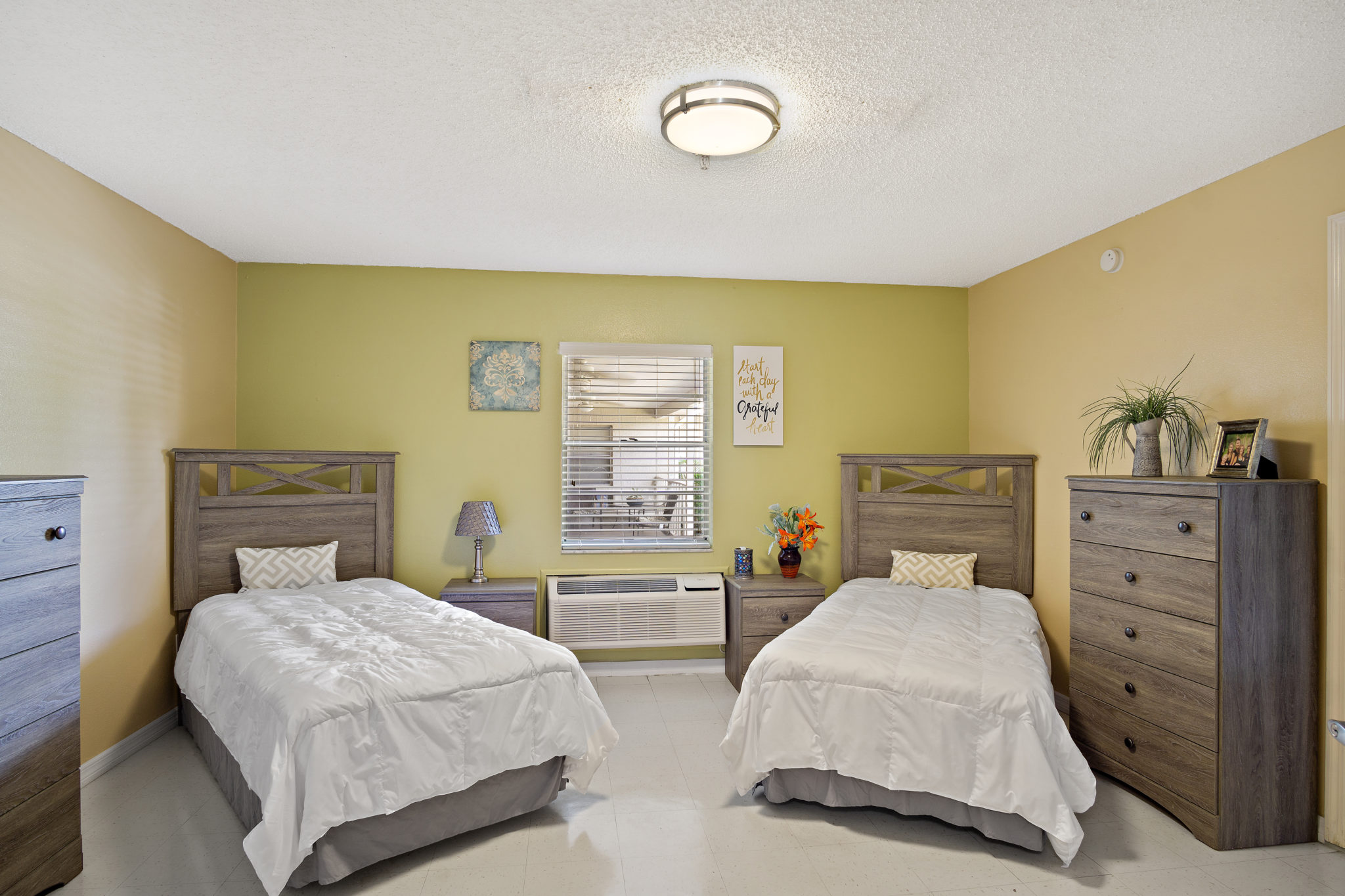 Bright room with two beds