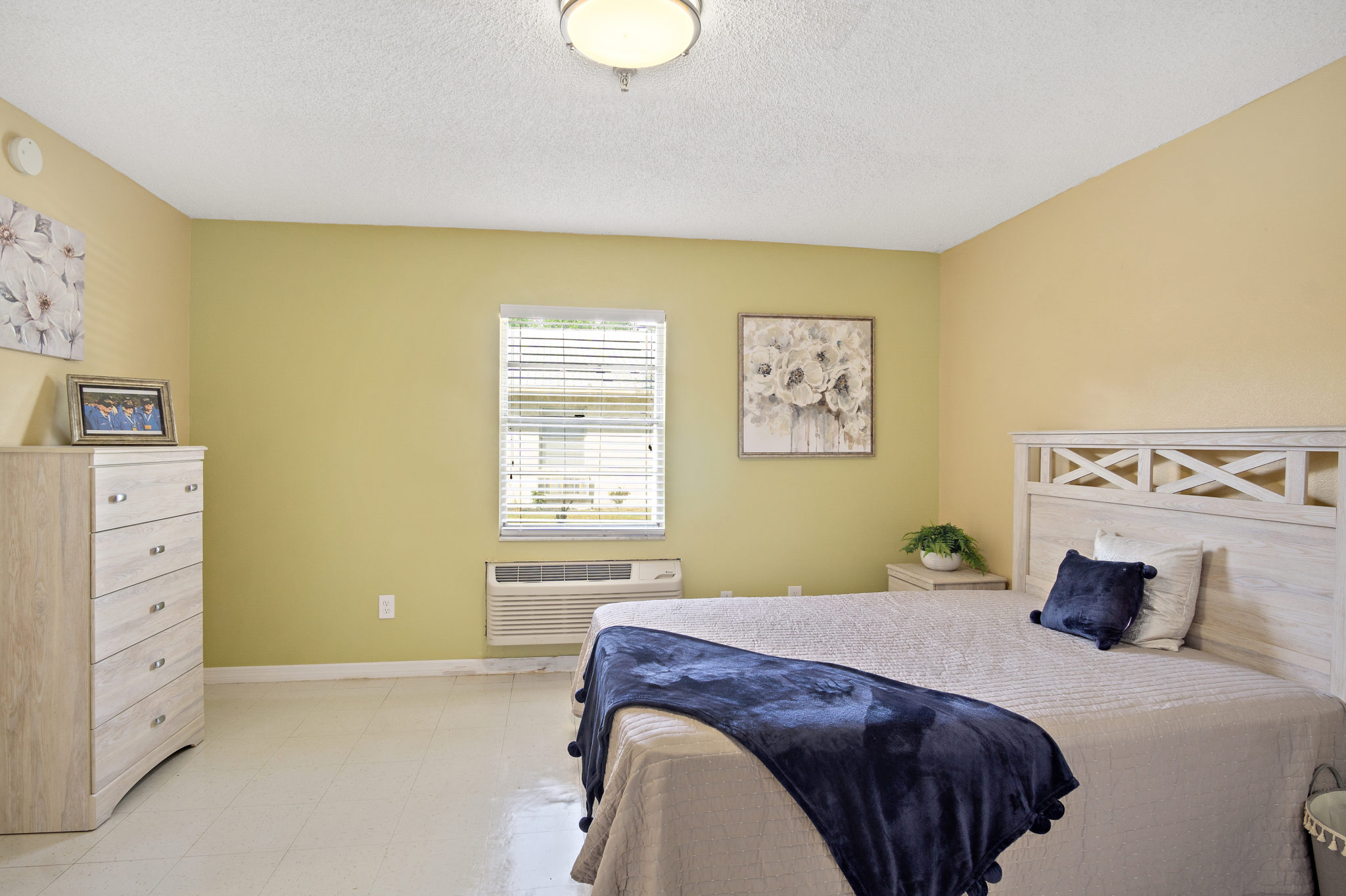 Bright comfortable room with a bed